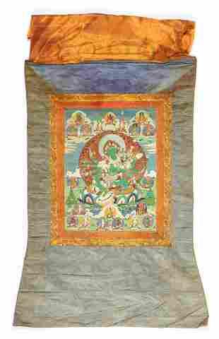 Vintage Tibetan Thangka of Eight-Armed Green Tara
