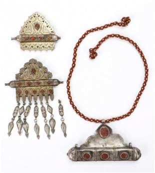 Three Turkmen Silver Amulet Holders