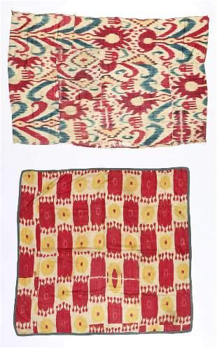 Two Large Antique Uzbek Ikat Silk Textiles