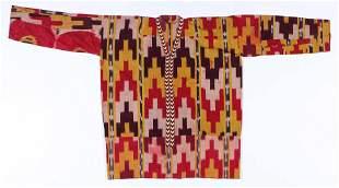 "Antique Uzebk Silk Ikat ""Kurta"" Tunic, Late 19th C."