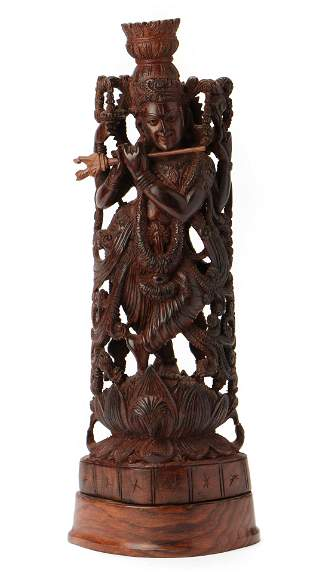 Indian Carved Wood Figure of Krishna, Early/Mid 20th C.