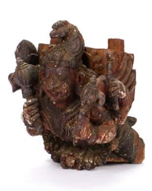 Antique Indian Carved Wood Figure of Gana