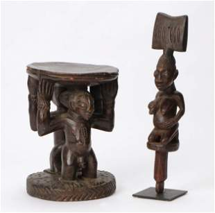 African Luba Stool and a Yoruba Shango Staff