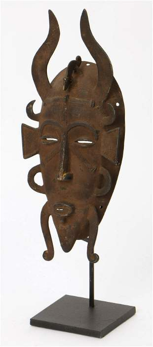 Old and Elaborate African Senufo Bronze Mask