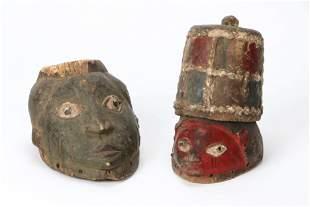 Two African Yoruba Gelede Masks