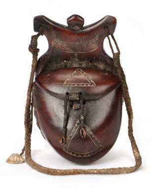 Old African Tuareg Wooden Saddle Bag