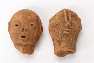 Two Ancient African Bura Culture Terracotta Heads,