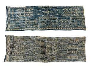 Two Large African Bamileke Ndop Indigo Cloths, Early