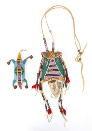 Native American Lakota Beaded Pouch Necklace and Charm