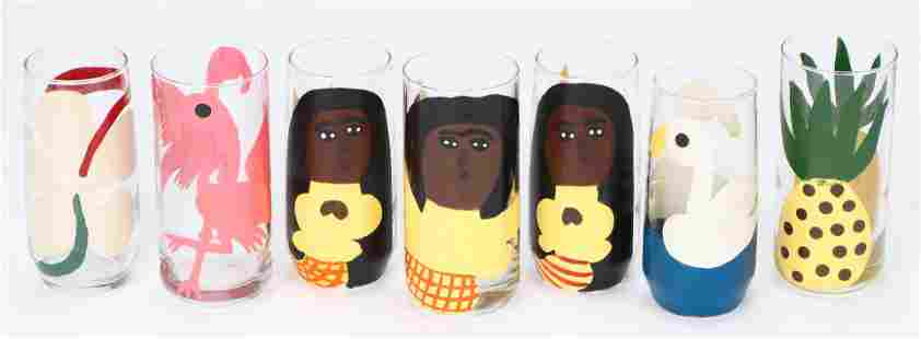 Amos Ferguson (1920-2009) 7 Painted Glasses
