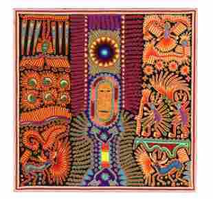 Huichol Yarn Painting by Eligio Carrillo Vicente
