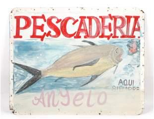 """Vintage Dominican """"Pescaderia"""" Trade Sign"""