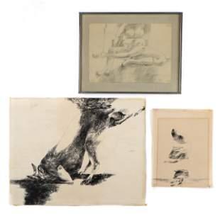 Sidney Goodman (1936-2013) 3 Works on paper, 1959