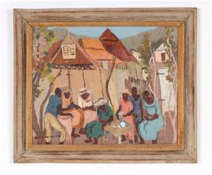 Carlo Jean-Jacques (1943-1990) Haitian Village Scene