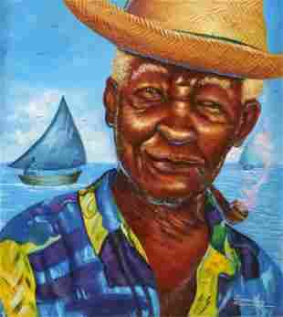 Rony Millien (Haitian, 20th c.) Portrait