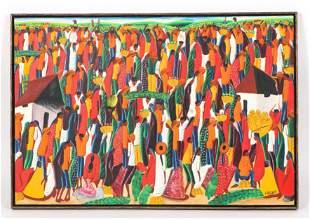 Laurent Casimir (Haitian, 1928-1990) Market Scene