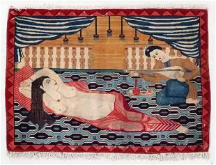 Kashan Pictorial Rug, Persia, Circa 1900, 2'10'' x