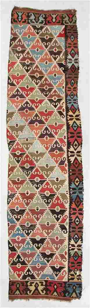 Anatolian Kilim Panel, Turkey, 19th C., 3'1'' x 12'9''