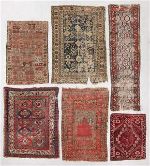 Group of 6 Antique Estate Rugs