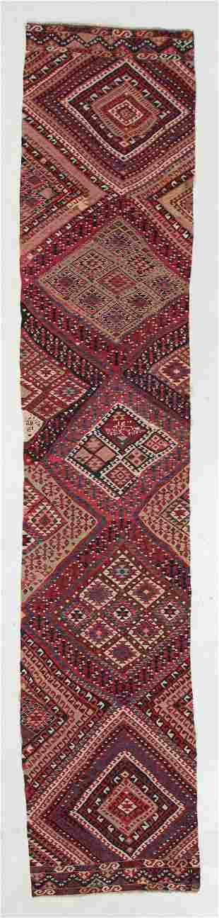 Anatolian Kilim, Turkey, Late 19th C., 2'5'' x 12'4''