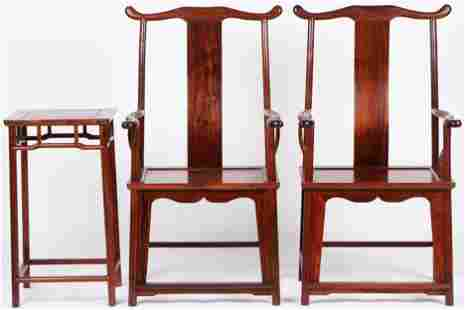 Two Chinese Huanghuali Armchairs and Pedestal Table