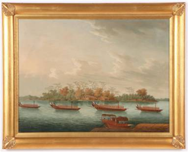 """Chinese School """"A Procession of Four Barges and a"""