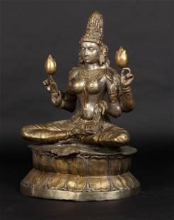Fine Large Antique Indian Chola Style Figure of Lakshmi
