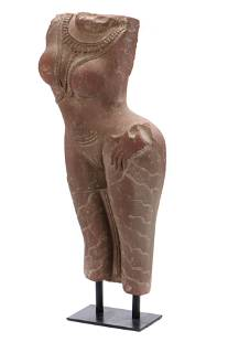 Ancient Indian Sandstone Carving of an Apsara
