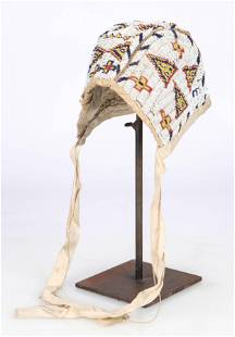 Antique Native American Sioux Beaded Bonnet