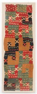 Fine Pre-Columbian Wari Tie-Dye Textile Panel, Peru