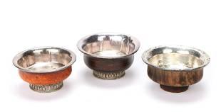 3 Antique Tibetan Silver and Burl Wood Tea Cups