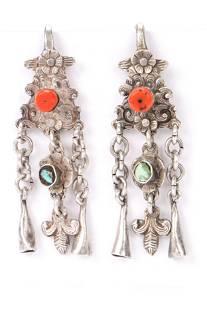 Antique Tibetan Silver Earrings