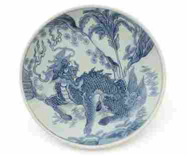 Chinese Blue & White Porcelain Dragon Charger