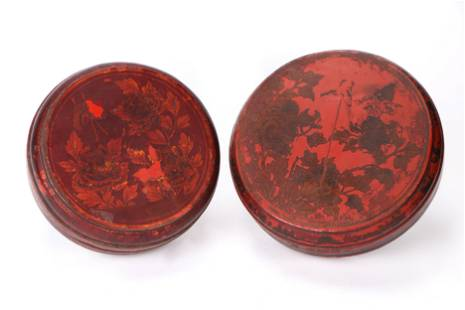 2 Antique Chinese Round Red Lacquered Wedding Boxes