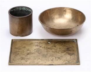 Tibetan Bronze Singing Bowl, Chinese Censer and Tray