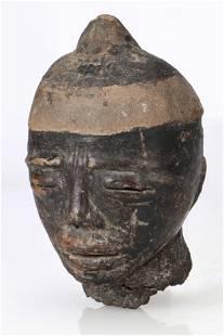 Antique Glazed Ceramic Igbo Head Effigy, Nigeria