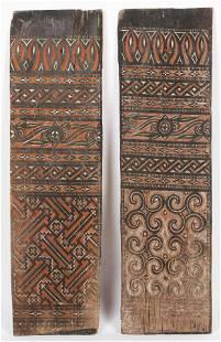 2 Toraja Carved Wood House Panels, Indonesia