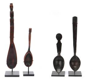 4 Filipino Carved Wood Figural Spoons, Philippines