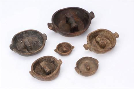 6 Bolivian Aymara Wood Marriage Bowls, Early 20th C.