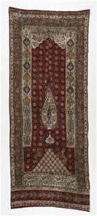 "Antique Kalamkari Block Printed Cotton Textile, 120"" L."