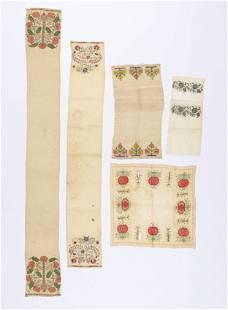 5 Antique Turkish Silk Embroidered Towels
