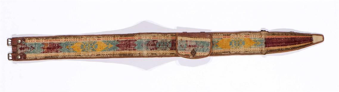Uzbek Velvet Ikat on Leather Belt, Late 19th C.