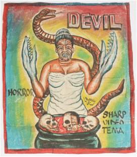 African Folk Painted Cinema Poster, Ghana