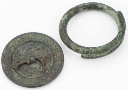 Ancient Greek Bronze Mirror and Bracelet