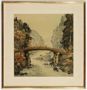Japanese Birodo Yuzen Cut Velvet Painting