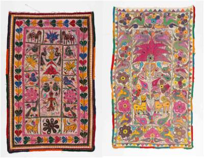 2 Colorful Vintage Hand Stitched Indian Textiles