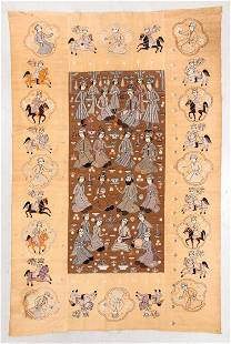 Fine 19th C. Persian Qajar Silk Embroidered Pictorial