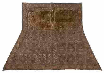 19th C. Central Asian Velvet and Gold Thread Saddle