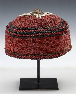 Tibetan Beaded Hat, Mid to Late 20th C.