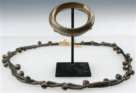 West African Heavy Bronze Bracelet and Necklace